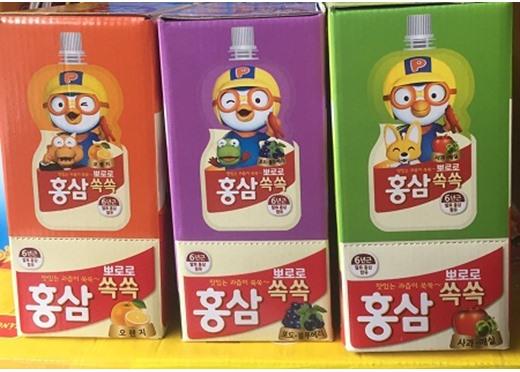 Nước uống hồng sâm Pororo trẻ em vị cam Hàn Quốc 100ml x 10 gói, nước uống hồng sâm trẻ em Paldo