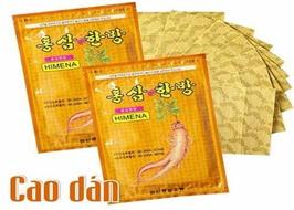 Cao dán hồng sâm Himena Hàn Quốc (túi 20 miếng), cao dán, cao dán hồng sâm lạnh, miếng dán hồng sâm
